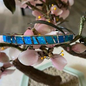 Vintage 925 inlay opal cuff